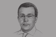 Sketch of <p>Abderrahmane Benkhelfa, Minister of Finance</p>