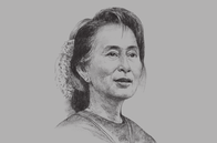 Sketch of <p>Daw Aung San Suu Kyi, Chairperson, National League for Democracy (NLD)</p>