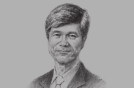 Sketch of <p>Jeffrey Sachs, Director, the Earth Institute at Columbia University</p>