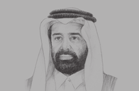 Sketch of <p>Saleh bin Mohamed Al Nabit, Minister of Development Planning and Statistics</p>