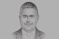 Sketch of <p>Omar Malhas, Minister of Finance</p>